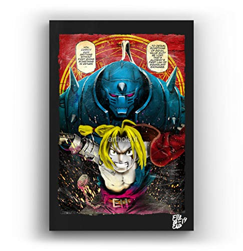 Alphonse y Eric de Fullmetal Alchemist - Pintura Enmarcado Original, Imagen Pop-Art, Impresion Poster, Impresion en Lienzo, Cuadro, Comics, Cartel de la Pelicula, Anime, Manga