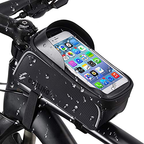自転車トップチューブバッグ 自転車バッグ 自転車スマホ ホルダー タッチパネル操作 防水 防圧 日除け 多機能 大容量 収納便利 取り付け簡単 イヤホン穴あり 梅雨対策 6.5インチスマホ対応