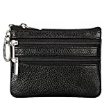 Women's Genuine Leather Coin Purse Mini Pouch Change Wallet with Keychain,black