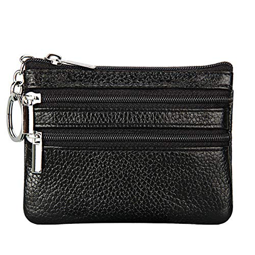 Women's Genuine Leather Coin Purse Mini Pouch Change Wallet with Keychain ,black