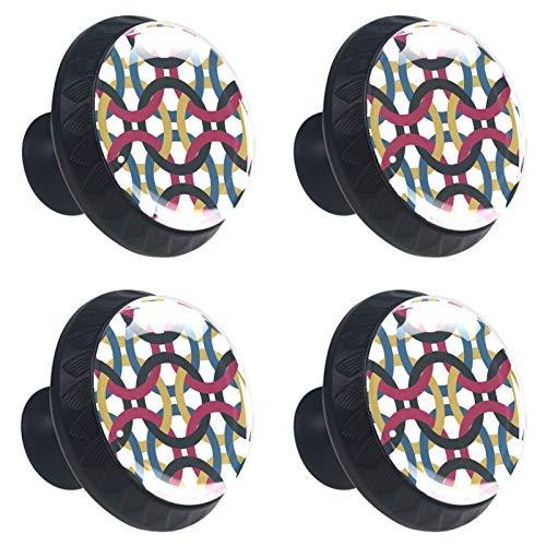 4 pomos de puerta de armario, tiradores de cajón, tiradores de cajón, tiradores de cajón, círculos abstractos