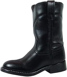 Smoky Children's Kid's Black Leather Roper Western Cowboy Boot