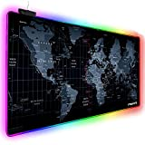 Extended RGB Gaming Mouse Pad, Extra Large Gaming Mouse Mat for Gamer, Waterproof Office DEST Mat with 10 Lighting Mode, for PC Computer RGB Keyboard Mouse - 31.5'' x 15' x 4mm(Map)
