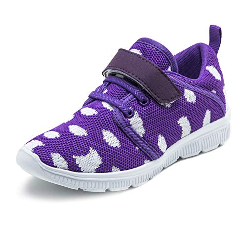 Abertina Kids Lightweight Breathable Running Sneakers Easy Walk Sport Casual Shoes for Boys Girls (12.5 Little Kid,Purple,31)