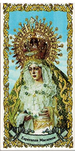Virgen de la Esperanza Macarena de Sevilla. Azulejo fabricado artesanalmente para decorar. Cerámica para colgar. Calca cerámica. TORO DEL ORO (25x40 cms)