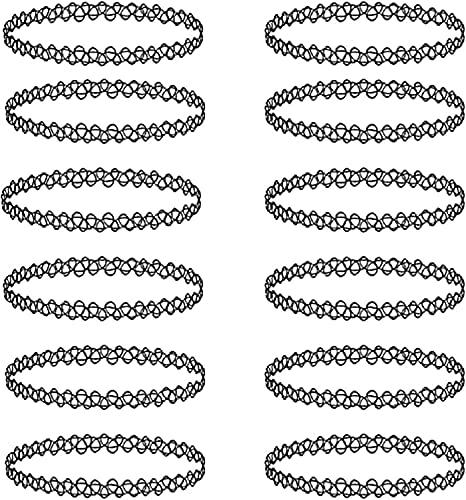 TRUPAL 12 Piezas de plástico Belleza Collares Collar insípido de Las Mujeres, Gargantilla de Tatuaje, Gargantilla Negra elástica