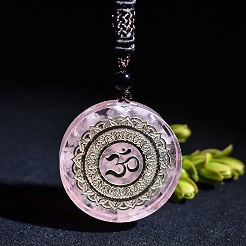 CLEARNICE Colgante Orgonita Colgante De Grava De Cristal De Cuarzo Rosa Natural Siete Cristales De Chakra De Energía Curativa Collar De Chakra
