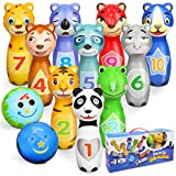 Sanlebi Kegelspiel für Kinder Ball Set mit 10 Kegel und 2 Bälle Bowling Set Mini Drin und Draußen Spielzeug Geschenke Spiele ab 3 Jahre Mädchen Junge