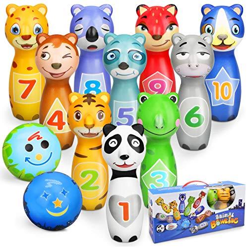 Sanlebi Bolos Infantiles con 10 Alfileres 2 Bolas, Juegos de Exterior y Interior Juego de Bolos para Niños 3 4 Años