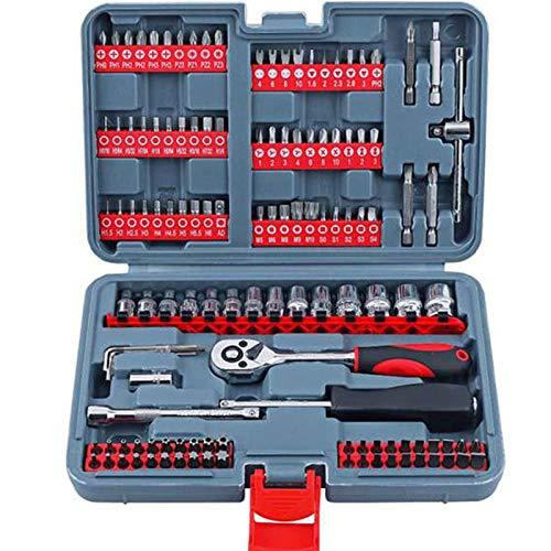 YUQIYU Lote 126 piezas 1/4 reparación de automóviles sistema de herramienta de múltiples funciones de Jefe de destornilladores de cabeza y combinación del socket del trinquete