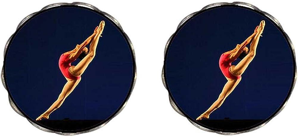 GiftJewelryShop Bronze Retro Style Dance themes Ballet Dancer Photo Clip On Earrings Flower Earrings #12