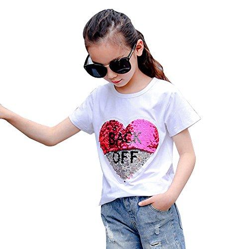 Desigual Corazón Lentejuela Camiseta Niña Moda Linda Tops Manga Corta (130, Blanco)