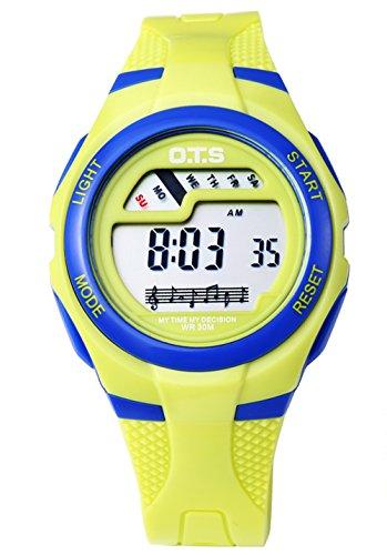 OTS - Reloj Digital Deportivo con Alarma Impermeable Luminoso de Cuarzo Cronómetro para Niños Niñas y Estudiantes - Color Amarillo