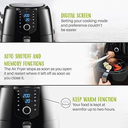 Friteuse XXL Electrique sans Huile - 1800 W - Friteuse à Air Chaud Air Fryer 8 en 1 - Grande Capacité 5,2L - Cuve Amovible - Panneau Digital - Minuteur - Thermostat - Friteuses sans Huiles