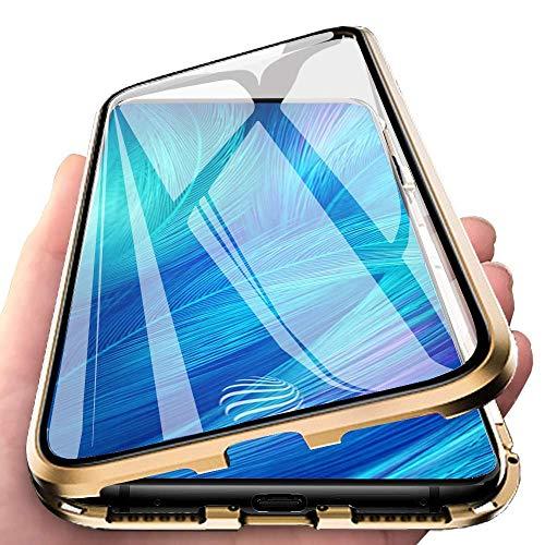 Orgstyle Hülle für Samsung Galaxy A71, Magnetische Hartglas Hülle mit Vorderseite & Rückseite, Metallrahmen Hülle mit Eingebaut Magnet, Ultra Dünn 360 Grad Handyhülle for Samsung Galaxy A71, Gold