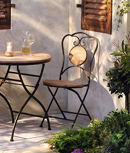 Dekoleidenschaft Gartenstuhl aus Metall & Holz im Antik Design, Metallstuhl für Garten und Balkon, Klappstuhl, Balkonstuhl