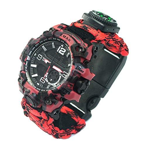 Hombres Mujeres Supervivencia Reloj analógico digital Reloj de pulsera de supervivencia al aire libre Reloj de supervivencia Impermeable Paraguas Reloj de cuerda Adecuado para senderismo Campi