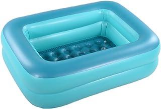 "Inflatable Kiddie Pool, 45"" Green Kids Swimming Pool Summer Water Fun Bathtub with Inflatable Soft Floor"