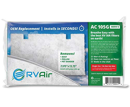 RV Air AC 105G 2 Filters | Replacement RV AC Filter for Dometic 3313107.103/3105012.003 | Replace Standard RV Air Conditioner Filters for Better Airflow and Cleaner Air | MERV 6 Rated