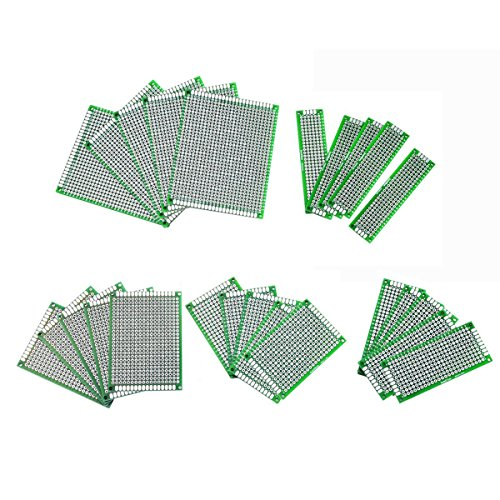 Saim 30 Pieces Double Sided PCB Prototype Universal Board Kit for DIY, 5 Different Sizes