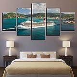 Yywife Barco Carnival Cruise Lines en St Maarten Cuadro en Lienzo Abstracto Impresión de 5 Piezas Lienzo Grandes XXL murales Pared hogar Pasillo Decor Arte Pared