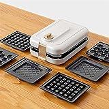 GCE Máquina para Hacer bocadillos 3 en 1 Deep Fill con gofres Intercambiables y Platos para sándwich tostados de 600 W máquina de gofres para el hogar Temporizador para el hogar Color Blanco