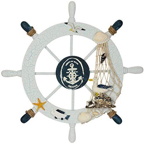 Fangoo 28 CM Rueda de Barco de Madera con Cuerda Barco de Madera náutico Volante de Barco Timón Decoración de Pared Adorno Colgante de Puerta (2)