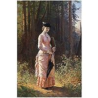 Mmpcpdd 古典的な絵画キャンバスの肖像画の壁の芸術のポスターの美しさの写真森の現代の家の装飾の女性の肖像画の女性-60X80Cmx1フレームなし