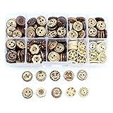 Aweisile 100 Piezas Botón Botones de coco Botón de Coser Dos Agujeros Redondos de cáscara de Coco Botones Redondos para Coser Artesanía de bricolaje 13mm