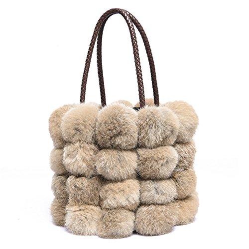 QZUnique Women's Faux Fur Bucket Handbag Drawstring Fur Bag Shoulder Tote Bag