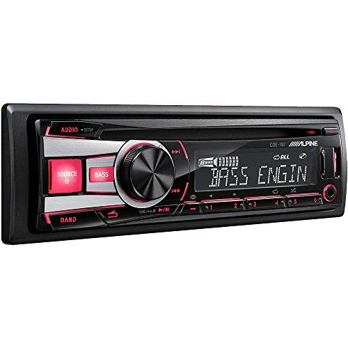Alpine CDE-151 CD/MP3/WMA Single DIN Car CD Receiver with Bass Engine SQ, Red