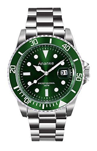 Ananke Hombre Analógico Cuarzo Reloje con Acero Inoxidable Correa con Calendario Impermeable Verde XSBCP0009