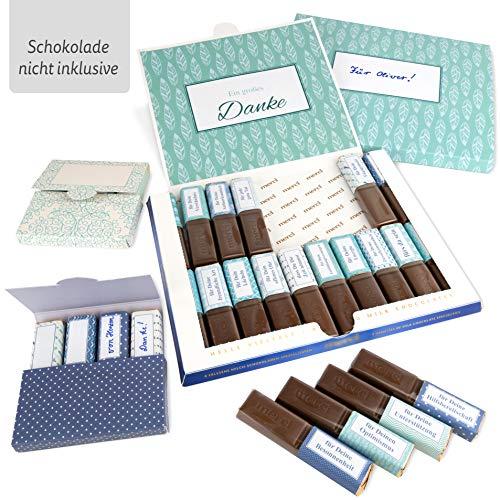 Netti Li Jae ® Aufkleber Set für Merci Schokolade inkl. Mini Schachteln – für 3 personalisierte Geschenke – persönliche Geschenkidee – Dankeschön Geschenke (Hilfsbereitschaft)