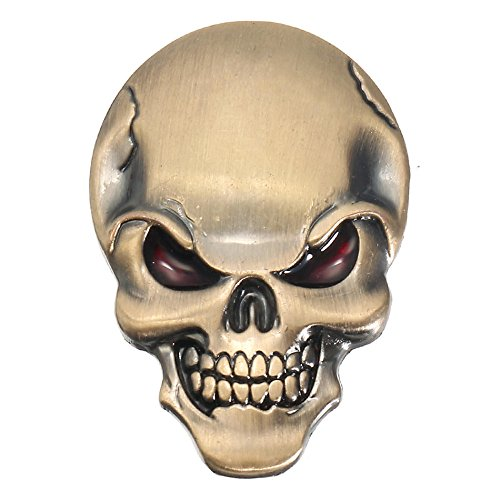 PeroFors Banggood 3D Demonio Cráneo Metal Pegatinas Hueso Emblema Insignia Calcomanías para Coche Motor Camión-Bronce