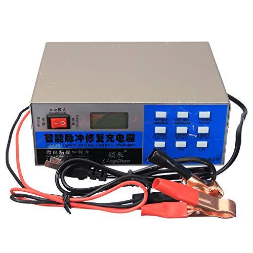 IJEOKDHDUW Auto Car 12V / 24V 200Ah Cargador de batería eléctrica Intelectivo esfigmus Reparación LCD