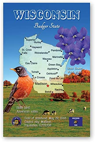 WISCONSIN MAP postcard Kansas City Mall set of 20 Ranking TOP4 identical state WI postcards. m