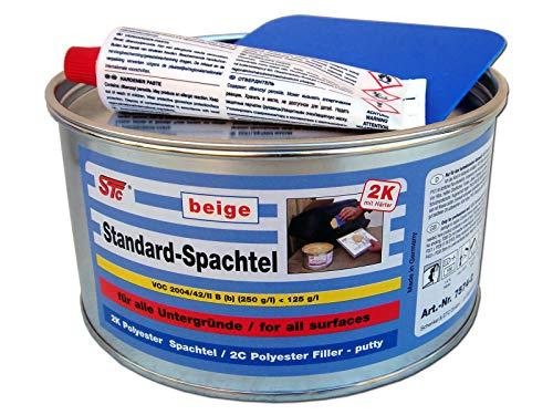 STC 2K kfz Spachtelmasse 2 kg auto Standard Spachtel beige Karosserie Polyester Füllspachtel Dose inkl. Härter + Spachtelblatt ca. 10 x 7 cm (2 kg Dose)
