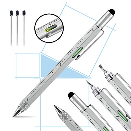 Pitagora Smart Pen, Penna MultiTool Professionale Innovativa 9 in 1, Penna a Sfera X3, Righello Cacciavite,Livella e Pen Touch,Regalo Originale Utile per Uomo Festa del Papà,Gadget Tecnologico Ufficio