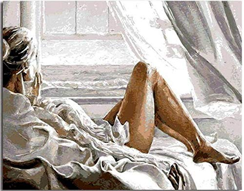 DIY Malerei nach Zahlen digitales Ölgemälde Bett Frau Farbe gezeichnet für Kinder Erwachsene Studenten Anfänger Wandkunst Bilder Leinwand40x50cm Mit Rahmen