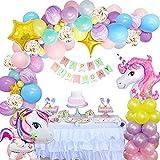 Unicornio Decoración Cumpleaños Niña, FIMOON Globos de Cumpleaños Unicornio con 3D Globos de Unicornio, Pancarta Feliz Cumpleaños, Globo Látex Confeti para Fiesta de Unicornio para Infantil Niñas