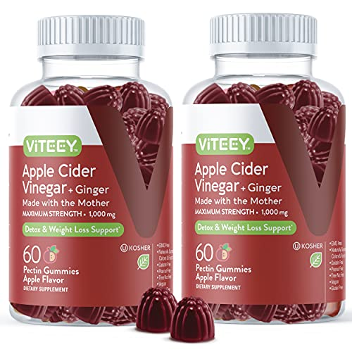 Apple Cider Vinegar Gummies Maximum Strength 1,000mg Plus Ginger, ACV With The Mother Dietary Supplement, Supports Immune Health, Detox, Cleanse, Weight loss & Digestion-Pectin Gummy [60 Count-2 Pack]