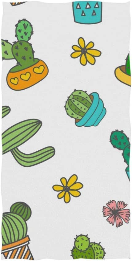 Olicsley Cartoon Plant 5 popular New Shipping Free Cactus and Flower White G Towel Yoga Hand