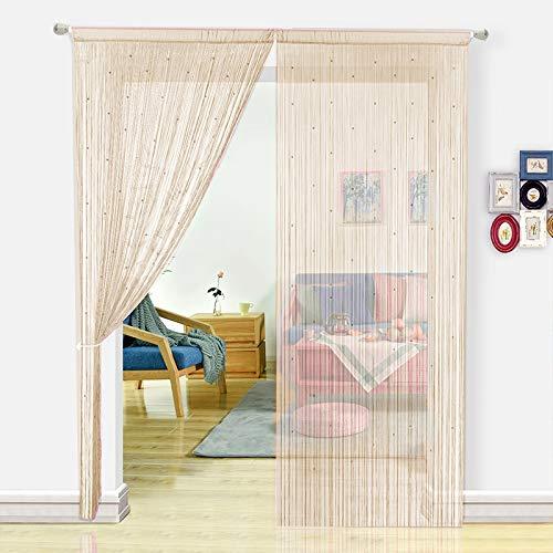 HSYLYM, Perlenvorhang für Türen, Wohnzimmer, als Raumteiler oder Dekoration, Textil, champagnerfarben, 90x200cm