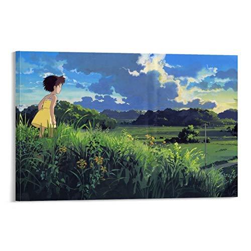 DRAGON VINES Animierter Film My Neighbor Totoro Satsuki Reisfeld, Rasen, HD Leinwanddruck, dekorativ, ungerahmt 50 x 75 cm