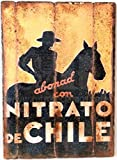 RetroReclamos Cuadro de Madera Vintage NITRATO DE Chile
