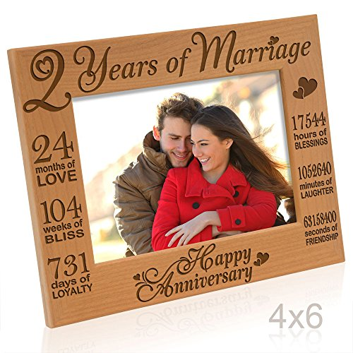 KATE POSH - Our 2nd Cotton Anniversary Engraved Picture Frame, 2 Years Together as Husband & Wife, 2 Years of Marriage, Happy Second for her, Gifts for him, Couple (4x6-Horizontal)