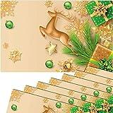 matches21 - Set di 8 tovagliette all'americana, motivo natalizio, cervo, stelle dorate, verde, in plastica, 43,5 x 28,5 cm, lavabili