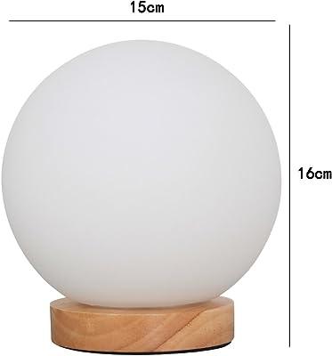 CDXZRZYH ボールテーブルランプ、ledウッドクリエイティブガラスのデスクランプボタンのリビングルームの寝室の夜の光装飾テーブルLihgt、D 15 cm x H 16 cmホワイト