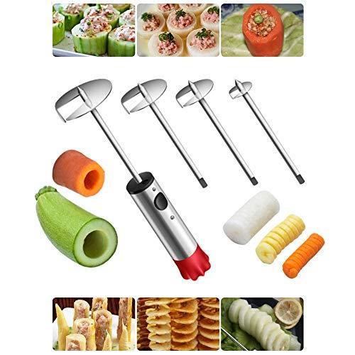 todaytop Gemüse-Corer, Mehrzweck-Veggie-Corer-Bohrer Obst-Corer mit ergonomischem Anti-Rutsch-Griff, 4-Größen-Veggie-Bohrer zum Entkernen und Aushöhlen von Zucchini, Kartoffeln, Birnen