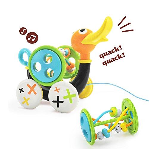 YOOKIDOO - Caneton Siffleur - Jouet Bébé à Tirer - Musical, Éducatif et Mobile - Motricité, Eveil, Coordination - Cadeau bébé 1 à 3 ans